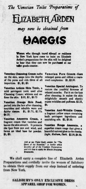 Elizabeth Arden Products Sold at Hargis, The Daily Times 1925